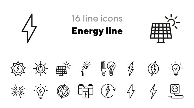 Energy line icons. Set of line icons. Electric socket, energy storage, laser lightning. Energy concept. Vector illustration can be used for topics like electricity, environment
