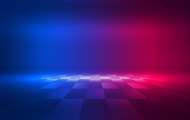 Background of an empty show scene. Ultraviolet abstract background. Geometric neon shapes, smoke,...