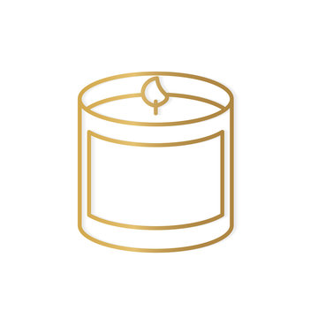 golden scented candle icon- vector illustration