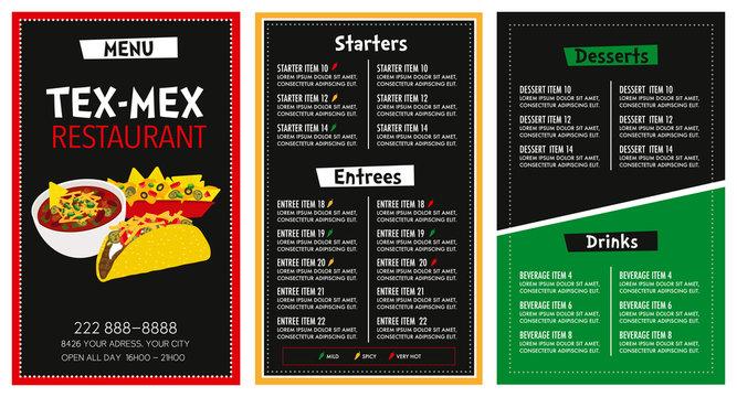 Mexican Restaurant menu layout vector