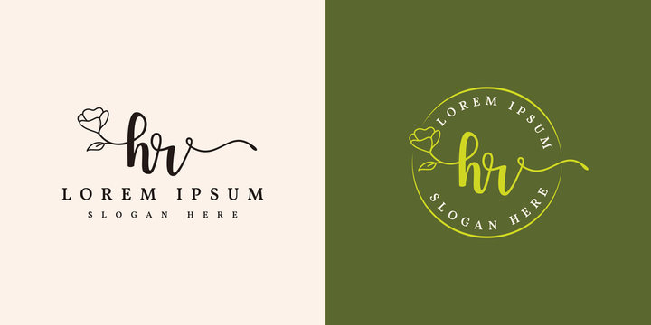 Initial hr feminine logo collections template - vector