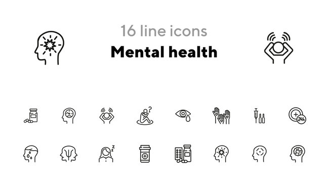 Mental health icon set. Psychology concept. Vector illustration can be used for topics like apothecary, pharmaceuticals, medicine