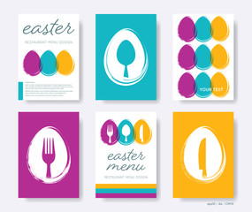 Vector restaurant easter menu cover design template collection