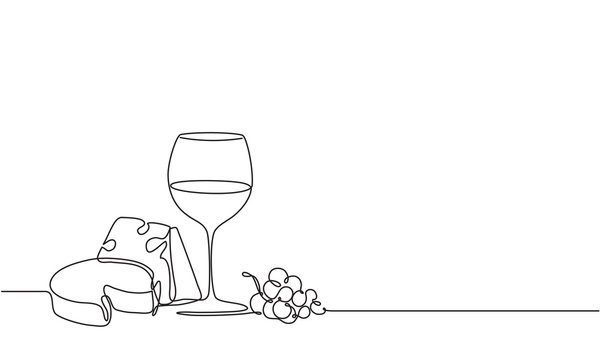 A glass of wine and a bunch of grapes. Drawing by a continuous line. Vine and cheese