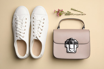 Wall Mural - Stylish woman's bag, shoes and flowers on beige background