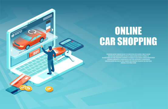 Vector of a man buying a car in the internet