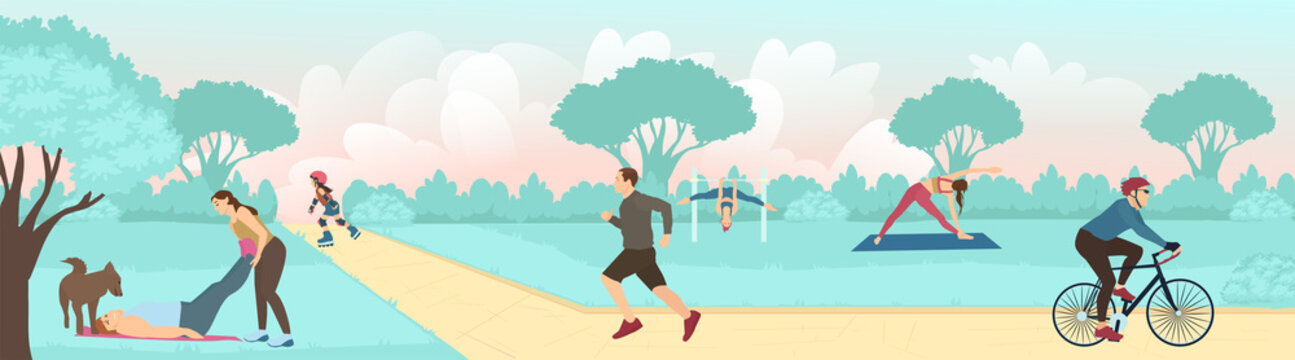 Vector of people exercising outdoors in the park, running, cycling and practicing yoga