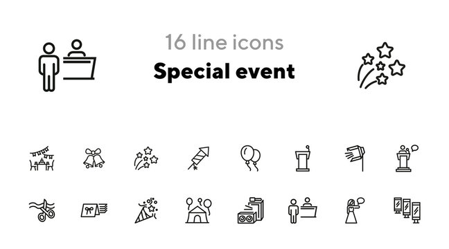 Special event line icon set. Air balloons, cutting ribbon, event reception. Celebration concept. Can be used for topics like birthday party, prom, holiday