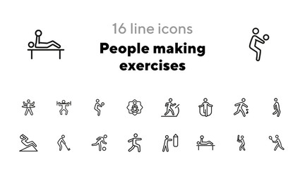 People making exercises line icon set. Set of line icons on white background. Abs, jogging, treadmill. Fitness concept. Vector illustration can be used for topics like activity, lifestyle, fitness