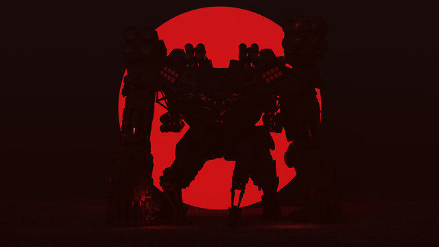 Futuristic AI Battle Droid Cyborg Mech with Glowing Lens with Red Alien Sphere 3d illustration 3d render