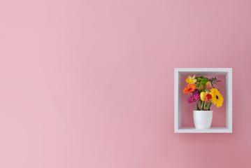 Fototapete - Spring flowers minimal design background