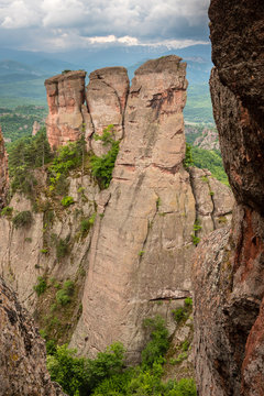 View of the high rock formations Belogradchik rocks. Wonderful rock figures, about 200 meters high near the city of Belogradchik, Bulgaria.