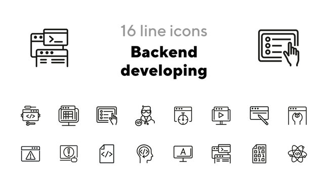Backend developing line icon set. Set of line icons on white background. Technology concept. Program, computer, screen. Vector illustration can be used for topics like internet, computer, progress