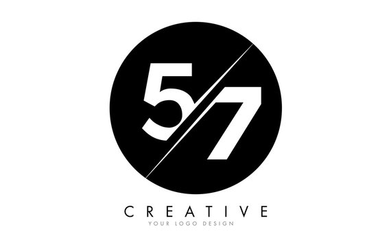 57 5 7 Number Logo Design with a Creative Cut and Black Circle Background.