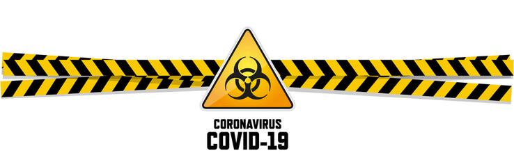 Warning coronavirus sign on white banner