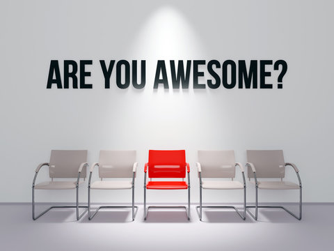 Are You Awesome text words message on recruitment office wall 3D render