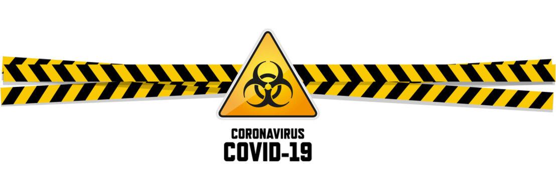 Warning coronavirus sign on white banner