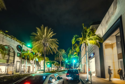 Rodeo Drive in Beverly Hills by night