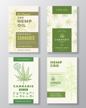 CBD Hemp Oil Abstract Vector Design Labels Bundle. Modern Typography and Hand Drawn Cannabis Plant Branch with Leaves Sketch Silhouettes Collection. Background Layout with Seamless Pattern.