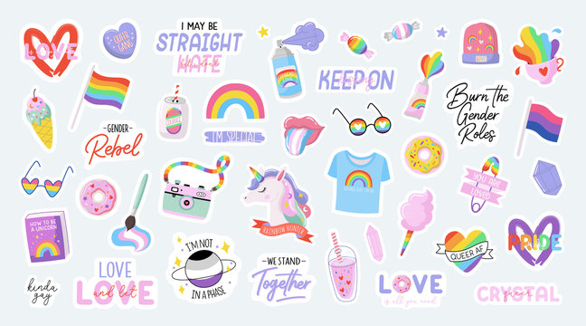 Cute LGBTQ pride stickers. Colorful design elements and typography. Vector collection of LGBTQ symbols and lettering.
