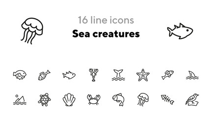 Sea creatures line icon set. Set of line icons on white background. Maritime concept. Shell, turtle, fish, whale. Vector illustration can be used for topics like sea, ocean Wall mural