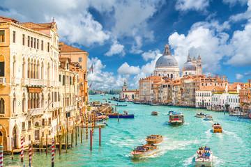 Fotorolgordijn Gondolas Grand Canal and Basilica Santa Maria della Salute, Venice, Italy
