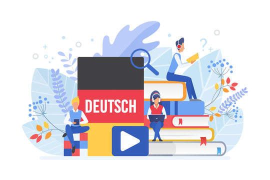 Online language courses flat vector illustration. Distance education, germany remote school, university lessons. German language Internet class, e learning isolated clipart on white background