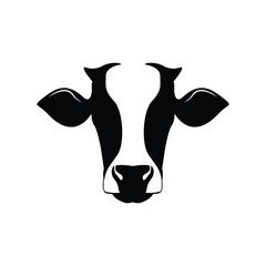 Head of a cow, Vector illustration of a cow black and white