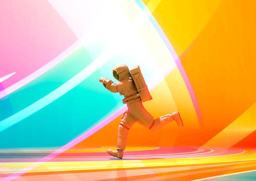 astronaut pin up running