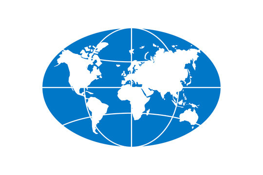World planet map elongated circle blue icon. Globe earth continents vector oval isolated symbol