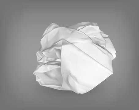 Wrinkled or crumpled garbage paper or trash ball