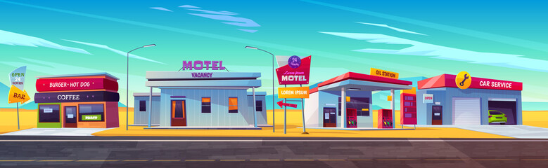 Photo sur Aluminium Cartoon voitures Roadside motel, oil station, cafe and car service.