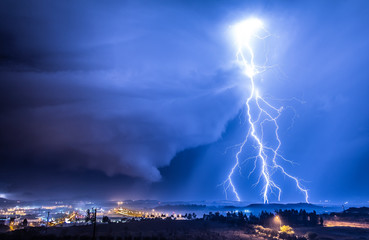 Lightning strike over Nicosia, Cyprus