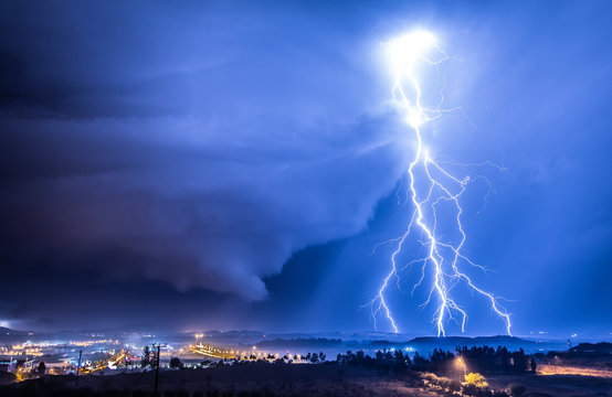 Lightning strike over Nicosia, Cyprus
