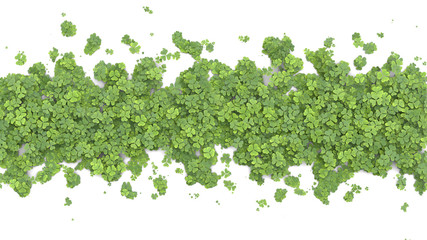 Green clover covering the screen. 3D rendering.