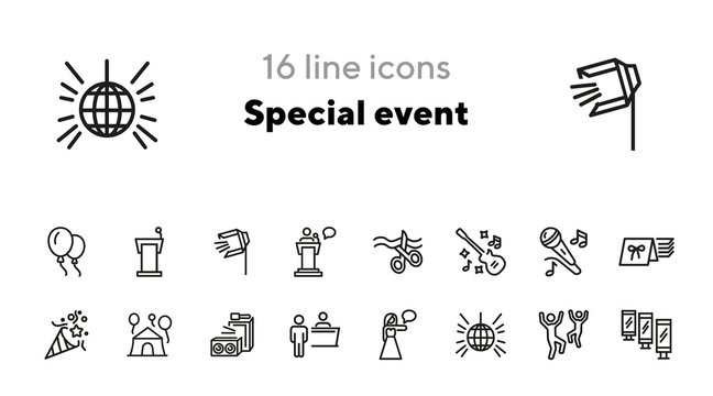 Special event line icon set. Concert, show, disco, dancing, invitation, ceremony. Holiday concept. Can be used for topics like celebration, music festival, party