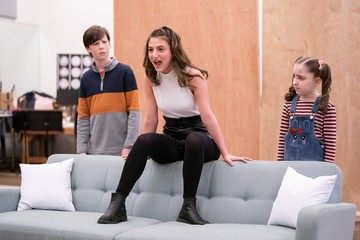 Jake Ryan Flynn, Analise Scarpaci, Avery Sell Photo Call for MRS. DOUBTFIRE Meet and Greet with Cast and Creative Team
