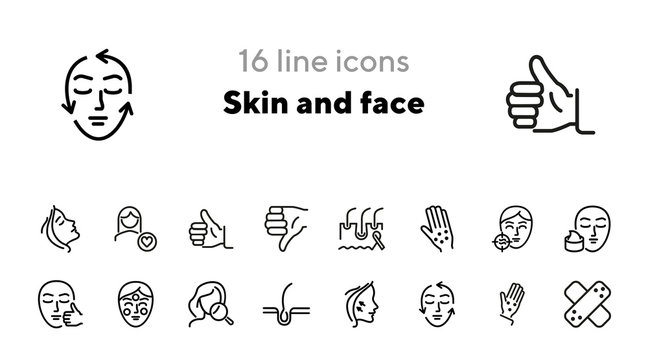 Skin and face line icon set. Woman, rash, hair follicle, cream, acne. Skin care concept. Can be used for topics like cosmetics, beauty salon, dermatology