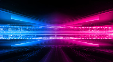 Wall Mural - Dark abstract futuristic background. Neon lines glow. Neon lines, shapes. Pink-blue glow. Empty Stage Background