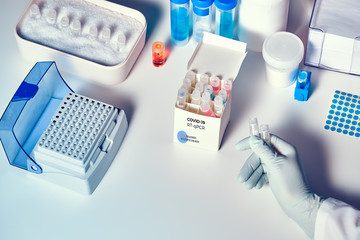 Kit to test for novel COVID-19 coronavirus in patient sample or tissue. RT-PCR kit allows to convert viral Covid19 RNA to DNA and amplify specific sequence of 2019-nCov in viral gene coding spike.