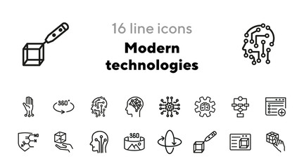 Modern technologies line icon set. Brain, gear, circuit board. Technology concept. Can be used for topics like science, robotics, artificial intelligence