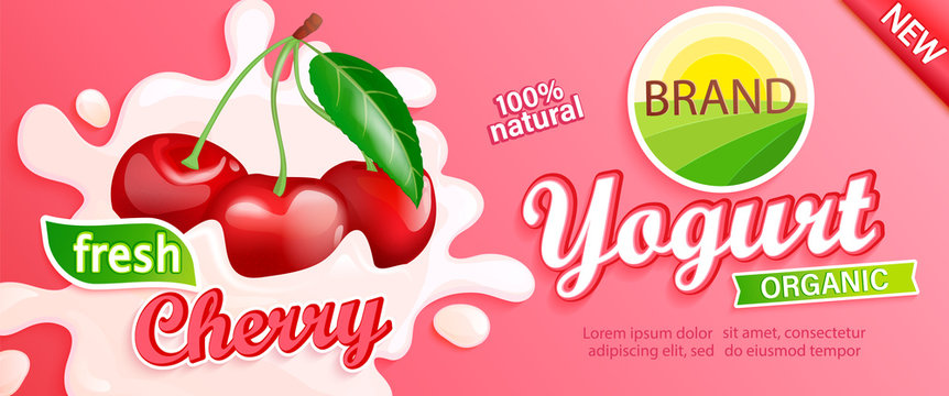 Cherry Yogurt label. Natural and fresh berries in milk splashes for your brand, logo, emblem, sticker. Organic and sweet dessert. Template for your design.Vector illustration.