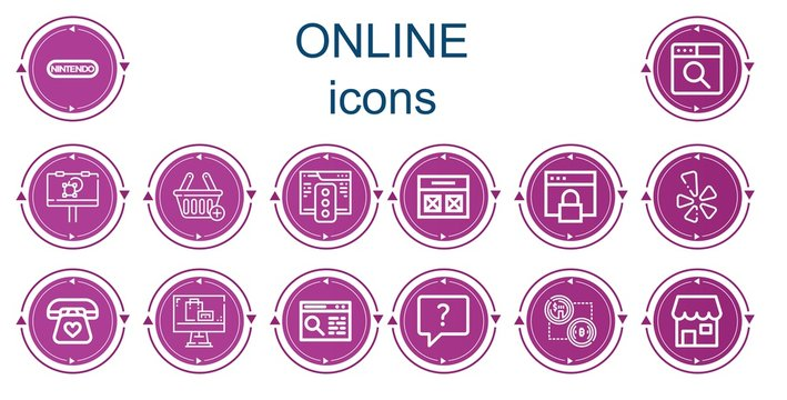 Editable 14 online icons for web and mobile