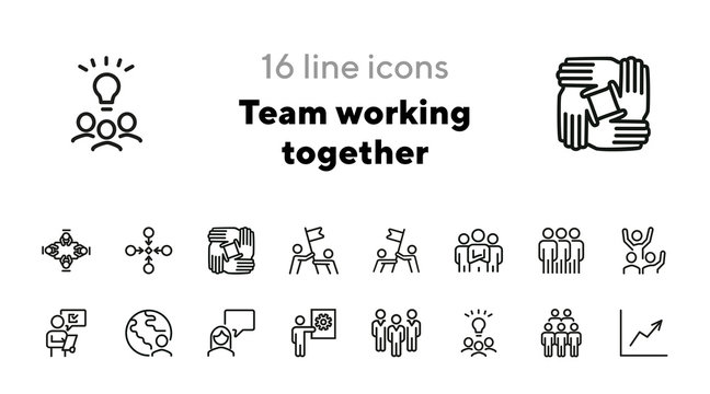Team working together line icon set. Stack of hands, group of people, celebrating success. Teamwork concept. Can be used for topics like unity, cooperation, successful team