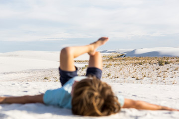 blurred young boy, White Sands Nat'l Monument, NM,White Sands National Monument