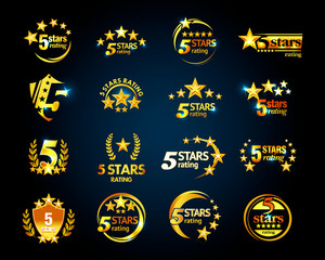 Luxury Golden Five stars logo template set. 5 star rating emblems set. Isolated Vector illustration.