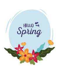 Wall Mural - happy spring decorative flowers leaves round banner