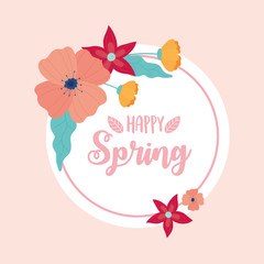 Wall Mural - happy spring flowers decoration circle banner