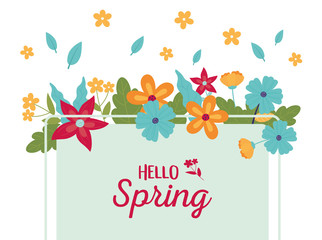 Wall Mural - happy spring season flowers frame leaves decoration