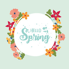 Wall Mural - happy spring round lettering flowers border decoration